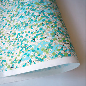 Yuzen Washi Wrapping Paper HZ-001 - Aqua Cherry Blossom - washi paper - Lavender Home London