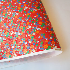 Yuzen Washi Wrapping Paper HZ-011 - Cherry Blossom & Flowing Water Red - washi paper - Lavender Home London