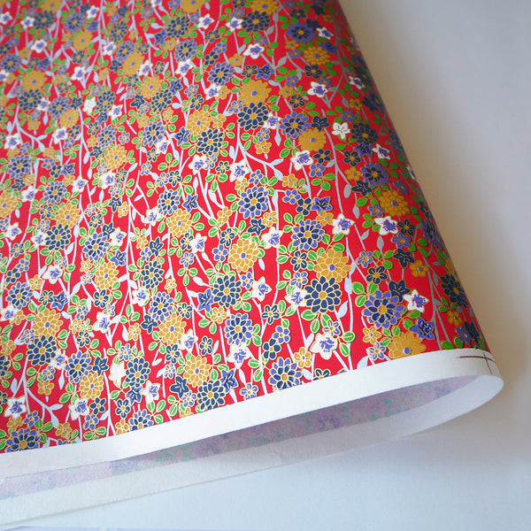 Yuzen Washi Wrapping Paper HZ-025 - Chrysanthemum & Bellflowers Red - washi paper - Lavender Home London