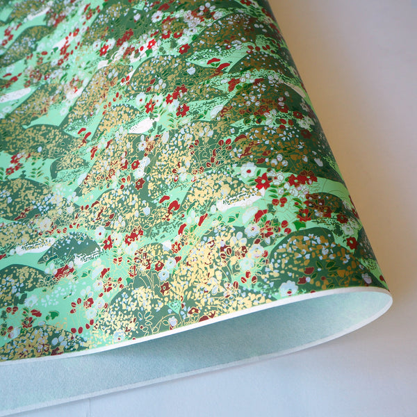 Yuzen Washi Wrapping Paper HZ-031 - Mint Green Garden - washi paper - Lavender Home London
