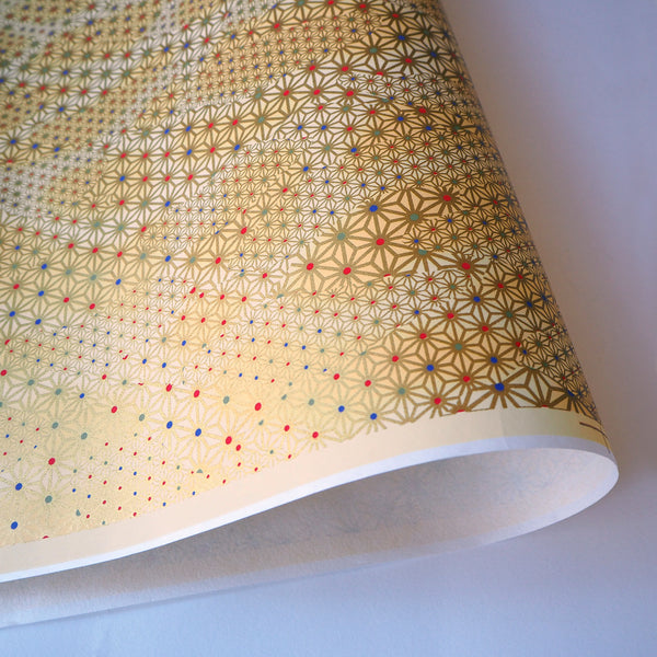 Yuzen Washi Wrapping Paper HZ-033 - Klimt Gold Hemp Leaf - washi paper - Lavender Home London