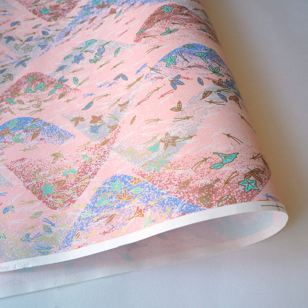 Yuzen Washi Wrapping Paper HZ-035 - Maple & Ginkgo Leaves Pastel - washi paper - Lavender Home London