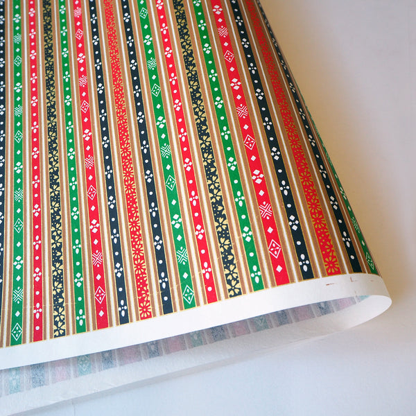 Yuzen Washi Wrapping Paper HZ-038 - Stripes of Hinamatsuri (Vivid) - washi paper - Lavender Home London