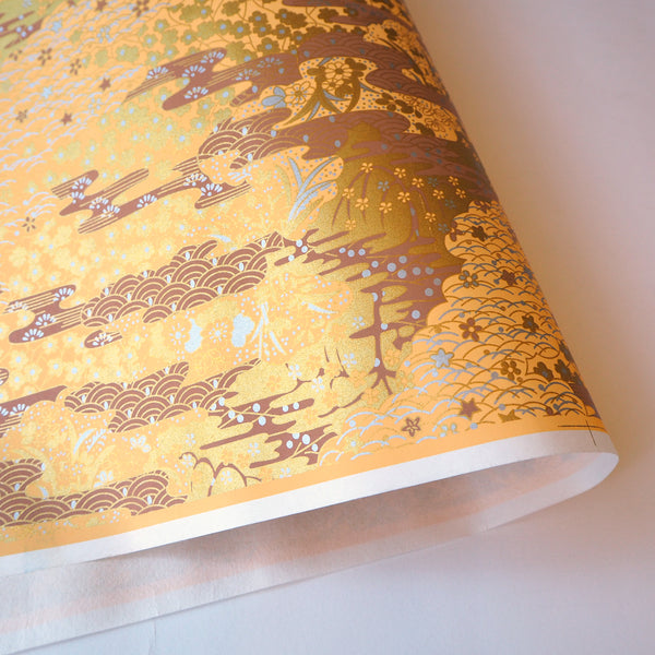 Yuzen Washi Wrapping Paper HZ-041 - Gold Sea Waves Garden - washi paper - Lavender Home London