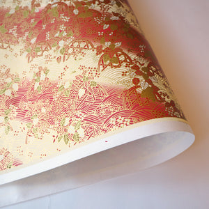 Yuzen Washi Wrapping Paper red gold pattern