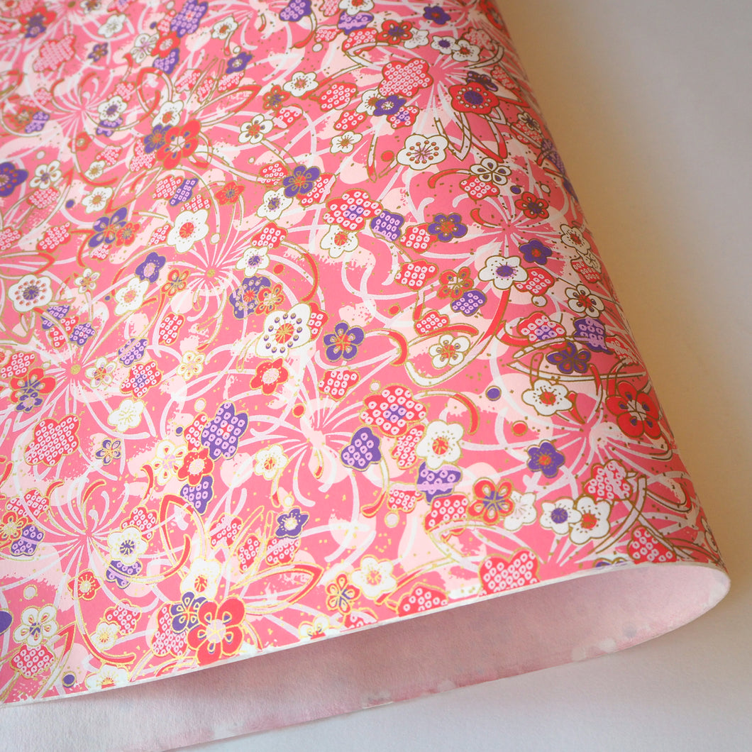 Yuzen Washi Wrapping Paper pink flower pattern
