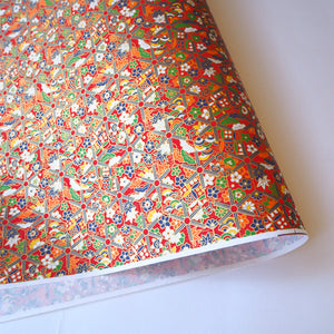 Yuzen Washi Wrapping Paper red traditional pattern