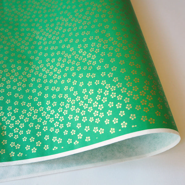 Yuzen Washi Wrapping Paper HZ-057 - Gold Small Plum Flowers Green - washi paper - Lavender Home London
