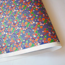 Yuzen Washi Wrapping Paper HZ-067 - Cherry Blossom & Flowing Water Blue - washi paper - Lavender Home London