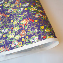 Yuzen Washi Wrapping Paper HZ-081 - Temari Thread Balls & Floral Jigami Paper Navy - washi paper - Lavender Home London