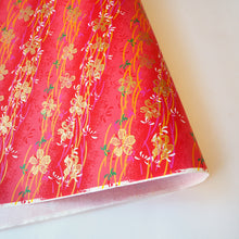 Yuzen Washi Wrapping Paper HZ-083 - Gold Cherry Blossom Red - washi paper - Lavender Home London
