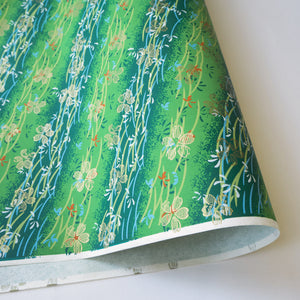 Yuzen Washi Wrapping Paper HZ-084 - Gold Cherry Blossom Fresh Green - washi paper - Lavender Home London