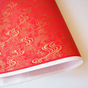 Yuzen Washi Wrapping Paper HZ-087 - Royal Red Flowing Water Garden - washi paper - Lavender Home London