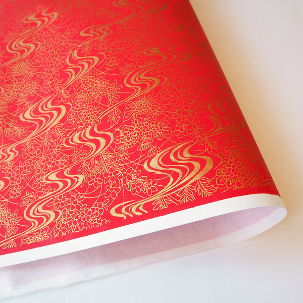 Yuzen Washi Wrapping Paper red pattern