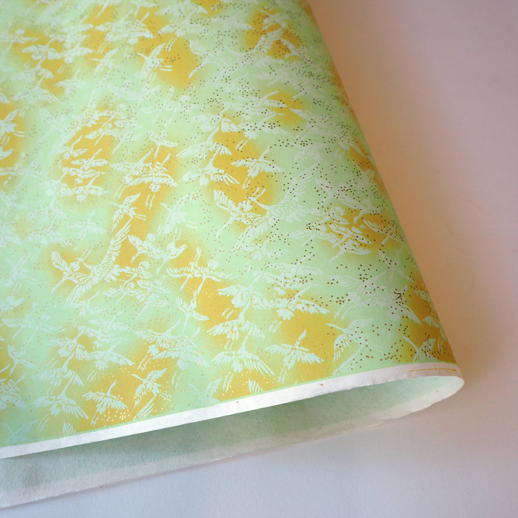 Yuzen Washi Wrapping Paper HZ-089 - Cranes Mint - washi paper - Lavender Home London