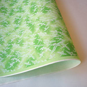 Yuzen Washi Wrapping Paper green crane pattern