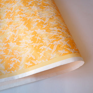 Yuzen Washi Wrapping Paper HZ-091 - Cranes Sunny Yellow - washi paper - Lavender Home London