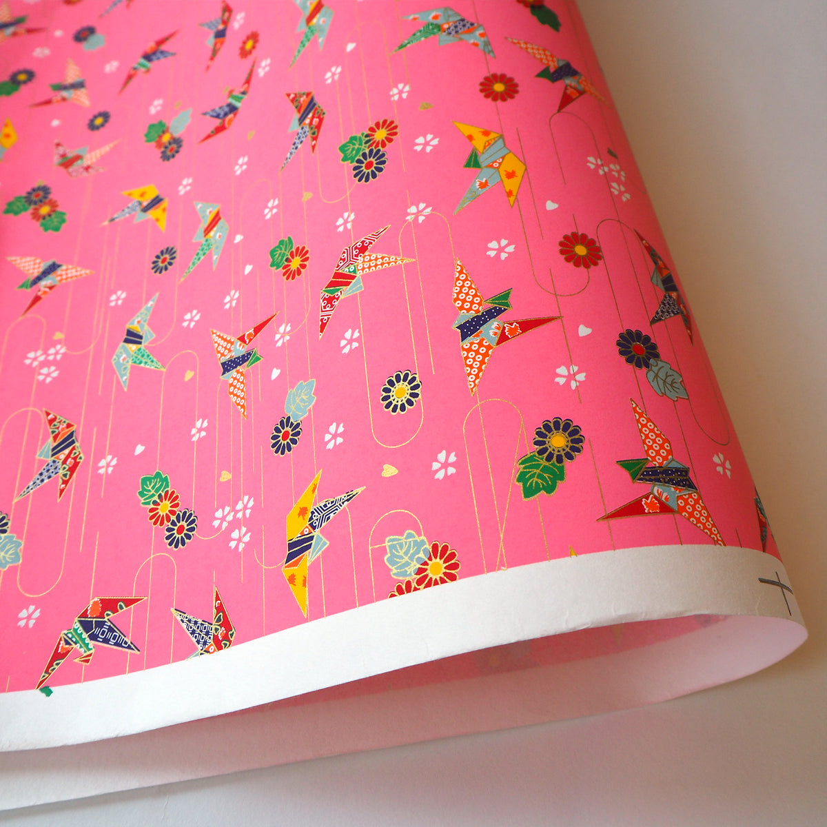Yuzen Washi Wrapping Paper Hz 102 Origami Cranes Pink L