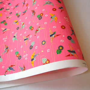 Yuzen Washi Wrapping Paper HZ-102 - Origami Cranes Pink (L) - washi paper - Lavender Home London