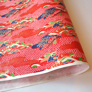 Japanese Yuzen Washi Wrapping Paper red pattern