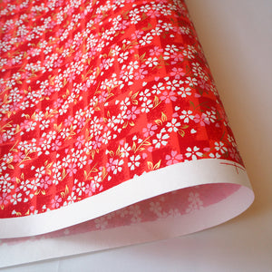 Japanese Yuzen Washi Wrapping Paper red cherry blossom pattern