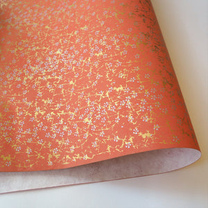 Yuzen Washi Wrapping Paper HZ-184 - Small Silver Cherry Blossom Fire Orange - washi paper - Lavender Home London
