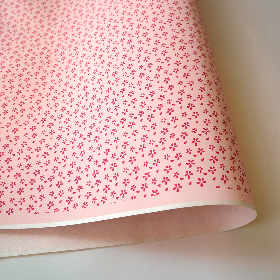 Yuzen Washi Wrapping Paper HZ-188 - Small Red Cherry Blossom - washi paper - Lavender Home London