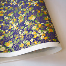Yuzen Washi Wrapping Paper purple flower pattern