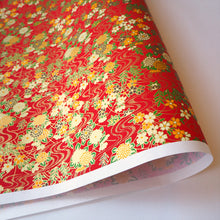 Yuzen Washi Wrapping Paper HZ-201 - Red Flowing Water Flower Garden - washi paper - Lavender Home London
