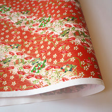Yuzen Washi Wrapping Paper HZ-202 - Cherry Blossom & Floral Fans Red - washi paper - Lavender Home London