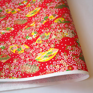 Yuzen Washi Wrapping Paper HZ-207 - Cherry Blossom & Floral Fans Red - washi paper - Lavender Home London