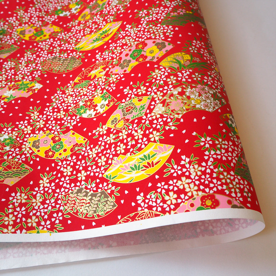 Yuzen Washi Wrapping Paper red flower pattern