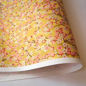 Yuzen Washi Wrapping Paper HZ-208 - Cherry Blossom Branches Yellow - washi paper - Lavender Home London