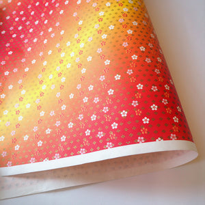 Yuzen Washi Wrapping Paper HZ-213 - Small Plum Flowers Orange Gradation - washi paper - Lavender Home London