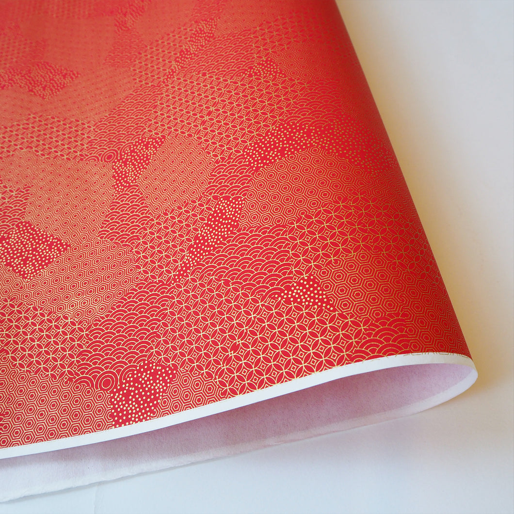 Yuzen Washi Wrapping Paper HZ-214 - Red Gold Mixed Geometric Patterns - washi paper - Lavender Home London
