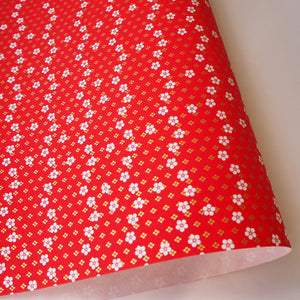 Yuzen Washi Wrapping Paper HZ-216 - Rounded Cherry Blossom & Diamond Flower Red - washi paper - Lavender Home London