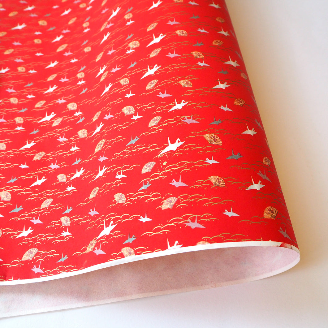 Yuzen Washi Wrapping Paper red sea pattern