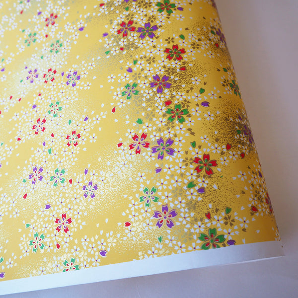 Yuzen Washi Wrapping Paper - Cherry Blossom Yellow