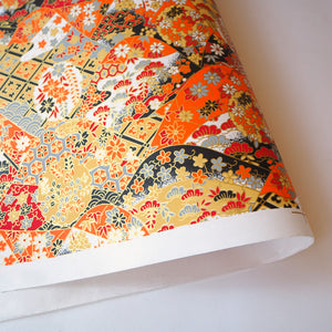 Yuzen Washi Wrapping Paper traditional orange pattern