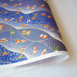 Yuzen Washi Wrapping Paper HZ-255 - Butterflies & Old Toys Blue - washi paper - Lavender Home London