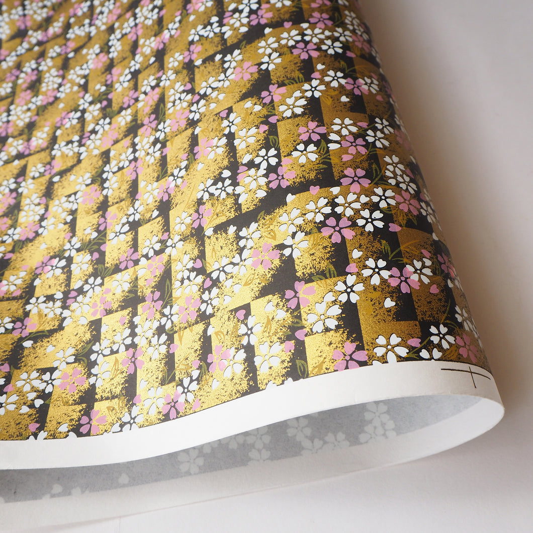 Japanese Yuzen Washi Wrapping Paper classic black gold sakura pattern