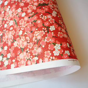 Yuzen Washi Wrapping Paper flower pattern red