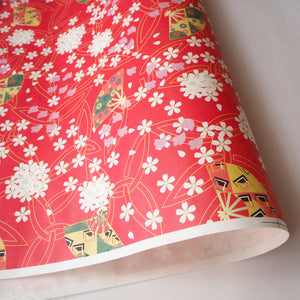 Yuzen Washi Wrapping Paper HZ-285 - Cherry Blossom & Fans Red - washi paper - Lavender Home London