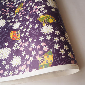 Yuzen Washi Wrapping Paper HZ-286 - Cherry Blossom & Fans Purple - washi paper - Lavender Home London