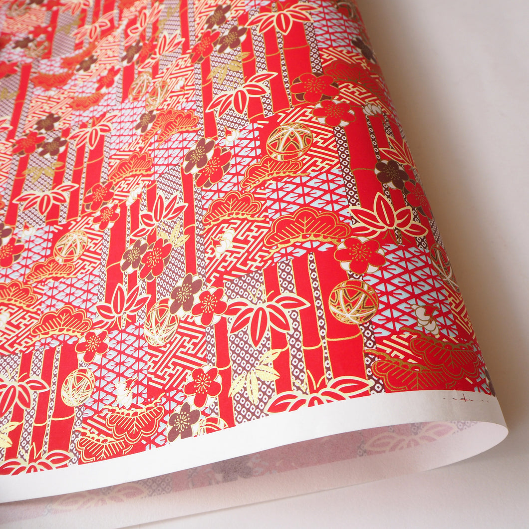 Japanese Yuzen Washi Wrapping Paper red bamboo pattern