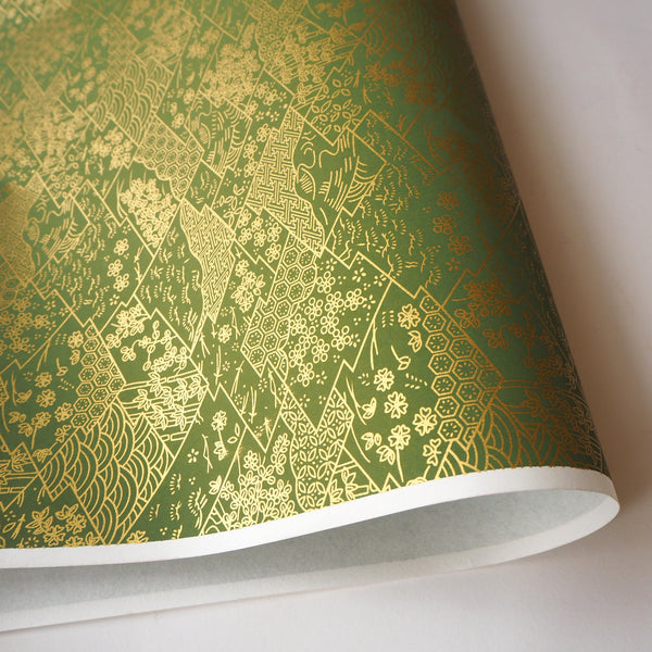 Yuzen Washi Wrapping Paper HZ-312 - Three Lozenges Matcha - washi paper - Lavender Home London