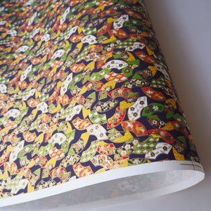 Yuzen Washi Wrapping Paper HZ-328 - Floral Fans Navy - washi paper - Lavender Home London