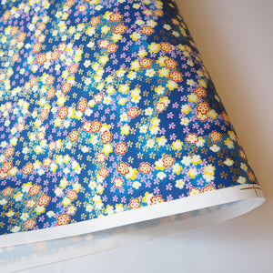 Yuzen Washi Wrapping Paper blue flower wave pattern