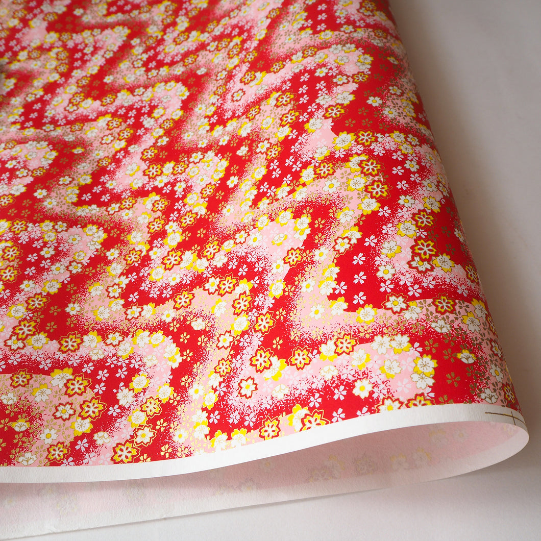 Yuzen Washi Wrapping Paper HZ-337 - Cherry Blossom Bright Red - washi paper - Lavender Home London