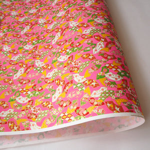 Yuzen Washi Wrapping Paper HZ-364 - Floral Fans Pink - washi paper - Lavender Home London
